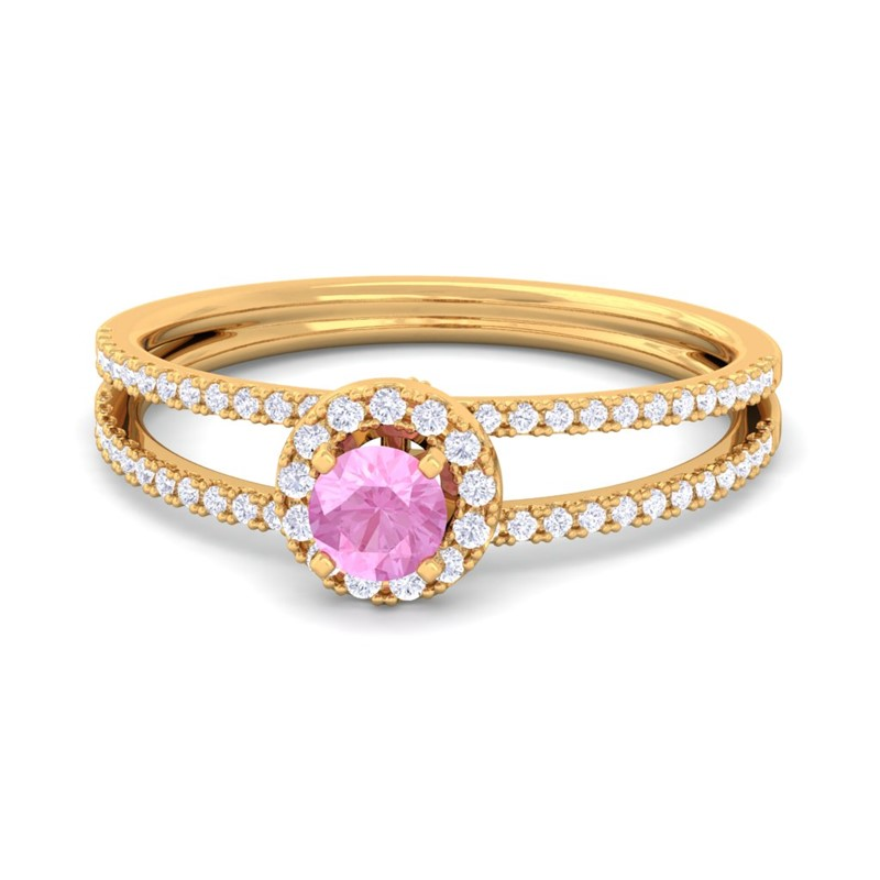 Pink-Sapphire-IJ-SI-Gemstone-Diamonds-Fashion-Halo-Ring-Women-14K-Solid-Gold