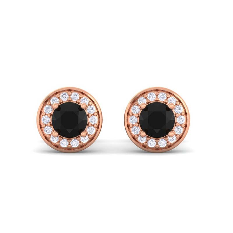 Black-Onyx-FG-SI-Round-Gemstone-Diamond-Halo-Earring-Women-18K-Rose-Gold