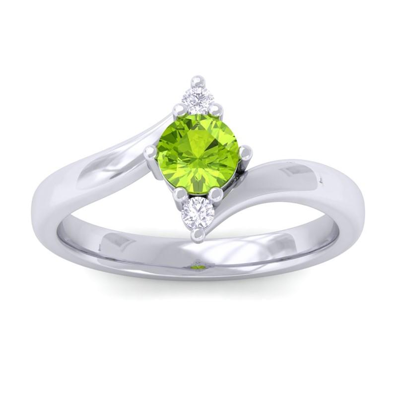 Green-Peridot-Natural-Diamonds-Three-Stone-Gemstone-Ring-Women-10K-White-Gold