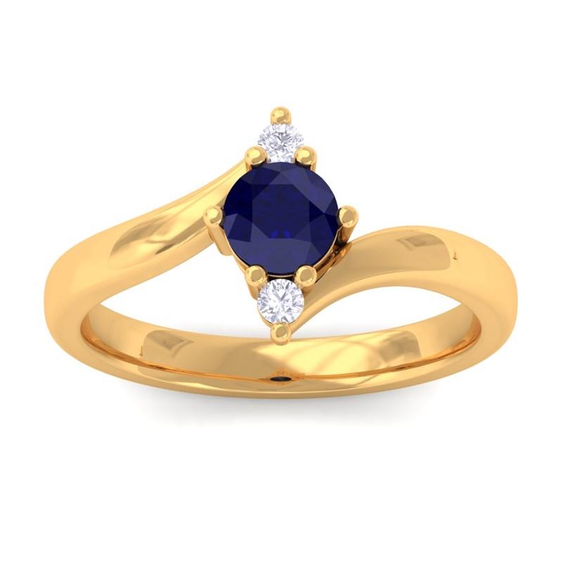 Blue-Sapphire-IJ-SI-Diamonds-Three-Stone-Gemstone-Ring-Women-Yellow-Gold
