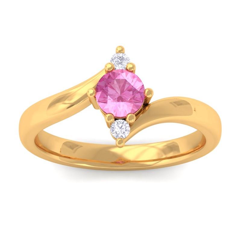 Pink-Sapphire-IJ-SI-Diamonds-Three-Stone-Gemstone-Ring-Women-18K-Yellow-Gold