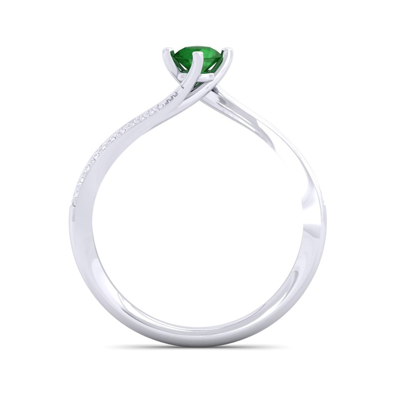 Green-Emerald-IJ-SI-Delicate-Diamond-Gemstone-Solitaire-Ring-10K-Solid-Gold