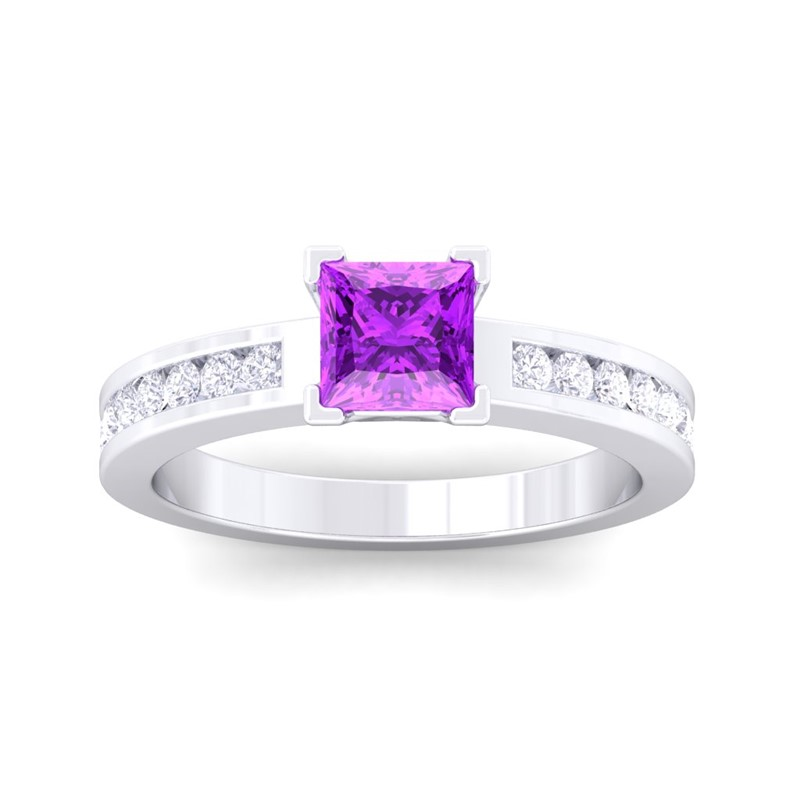 purple amethyst ij si diamonds gemstone wedding engagement