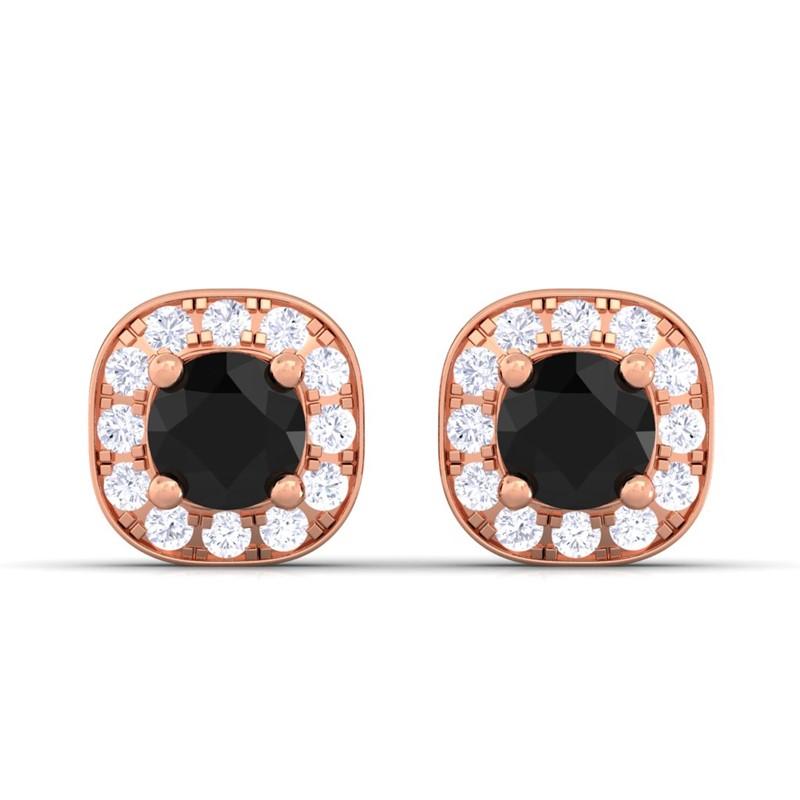 Black-Diamond-Round-Gemstone-Diamonds-Halo-Stud-Earrings-Women-14K-Rose-Gold