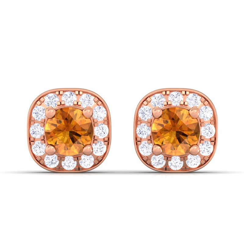 Orange-Citrine-FG-SI-Diamond-Gemstone-Halo-Stud-Earrings-Women-10K-Rose-Gold