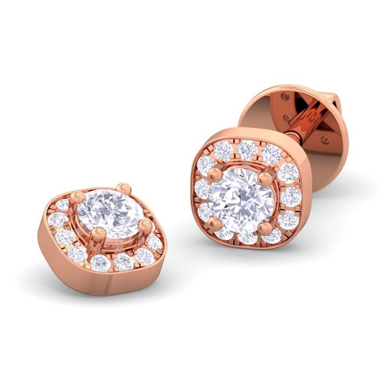 0.29ct IJ SI Small Round Diamond Halo Stud Earrings Women ...