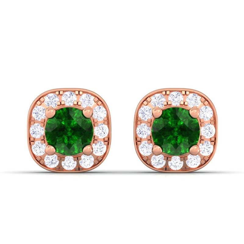 Green-Emerald-IJ-SI-Diamond-Gemstone-Halo-Stud-Earrings-Women-10K-Rose-Gold