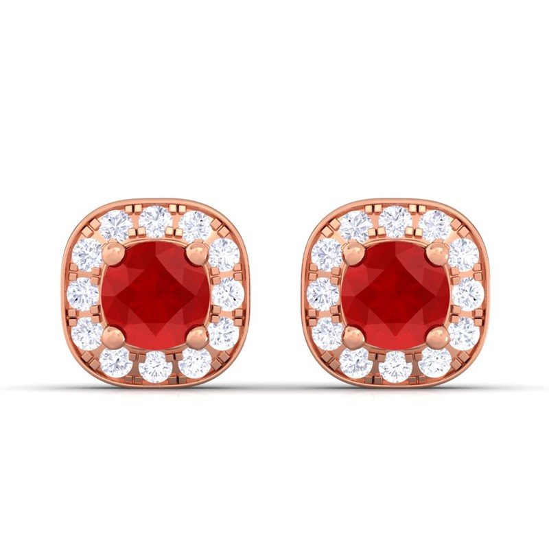 Red-Ruby-FG-SI-Diamond-Gemstone-Halo-Stud-Earrings-Women-18K-Rose-Gold