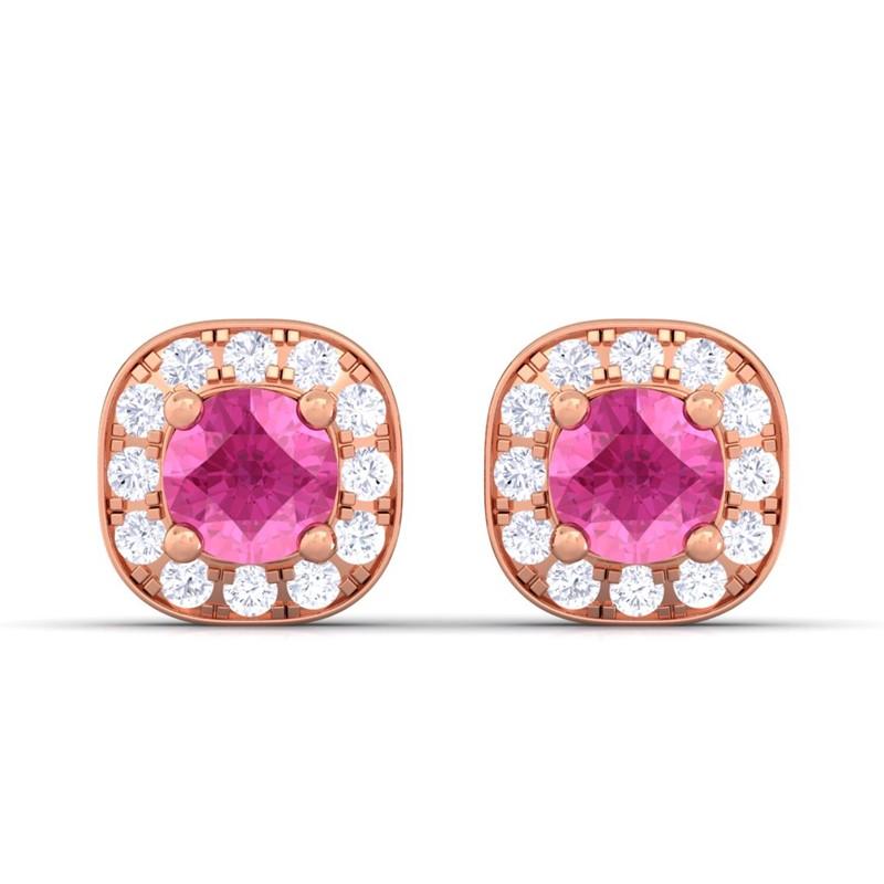 Pink-Sapphire-IJ-SI-Diamond-Gemstone-Halo-Stud-Earrings-Women-10K-Rose-Gold