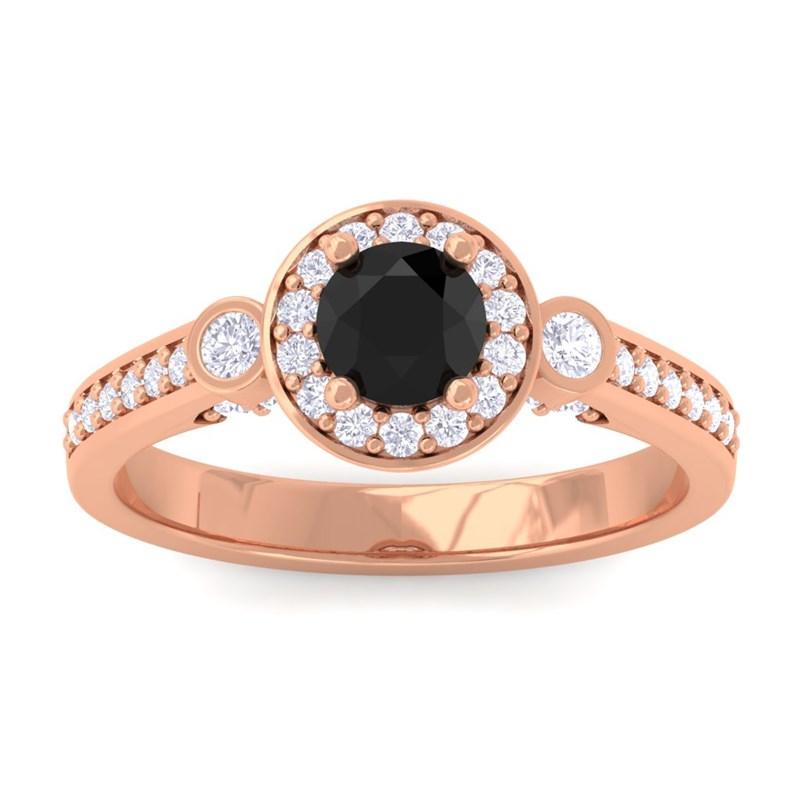 Black-Onyx-FG-SI-Fine-Diamond-Halo-Gemstone-Ring-Women-14K-Rose-Gold