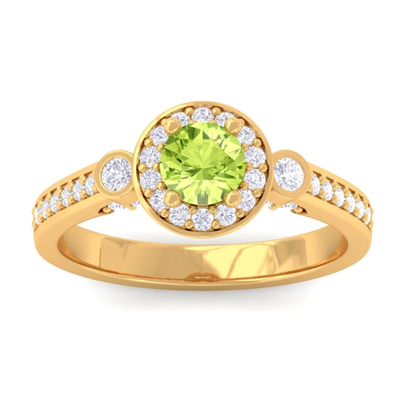 Green-Peridot-IJ-SI-Fine-Diamond-Halo-Gemstone-Ring-Women-10K-Yellow-Gold