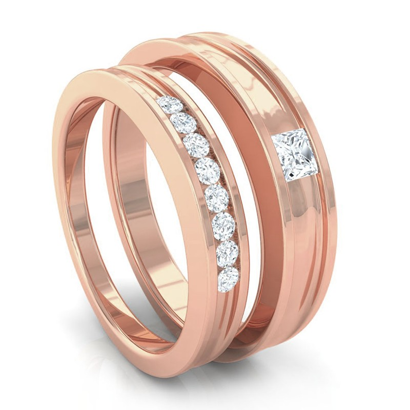 0-26ct-FG-SI-Princess-Diamonds-Couple-Engagement-Wedding-Rings-14K-Gold