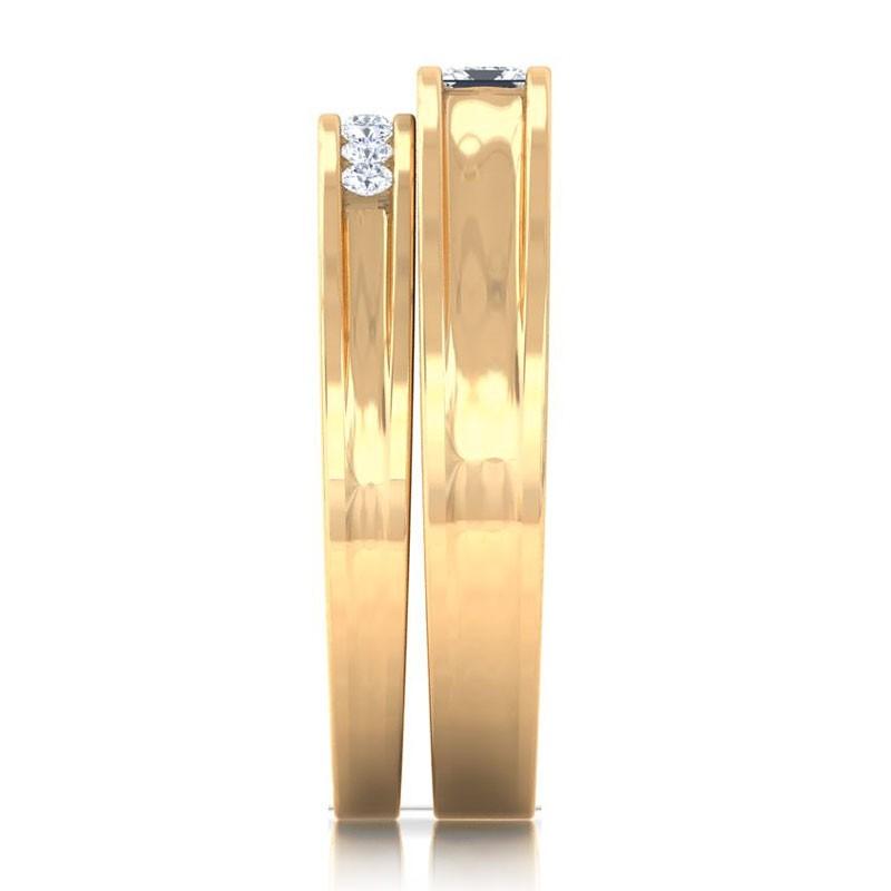 0-26ct-FG-SI-Princess-Diamonds-Couple-Engagement-Wedding-Rings-18K-Gold