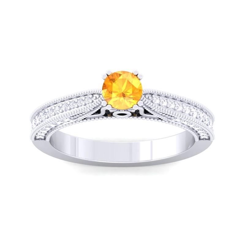 Orange-Citrine-FG-SI-Gemstone-Filigree-Design-Diamonds-Ring-10K-White-Gold
