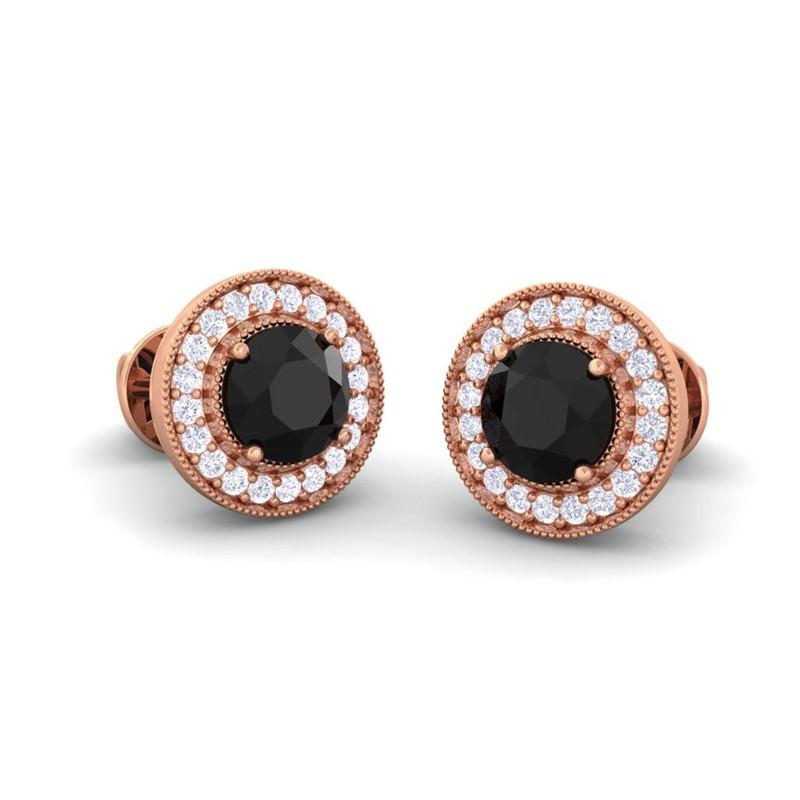 Black-Onyx-IJ-SI-Diamonds-Women-Halo-Gemsone-Stud-Earrings-14K-Rose-Gold