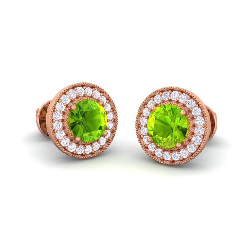 Green-Peridot-FG-SI-Diamonds-Women-Halo-Gemsone-Stud-Earrings-18K-Rose-Gold