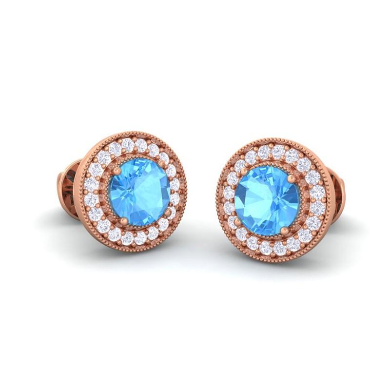 Blue-Topaz-FG-SI-Diamonds-Women-Halo-Gemsone-Stud-Earrings-14K-Rose-Gold