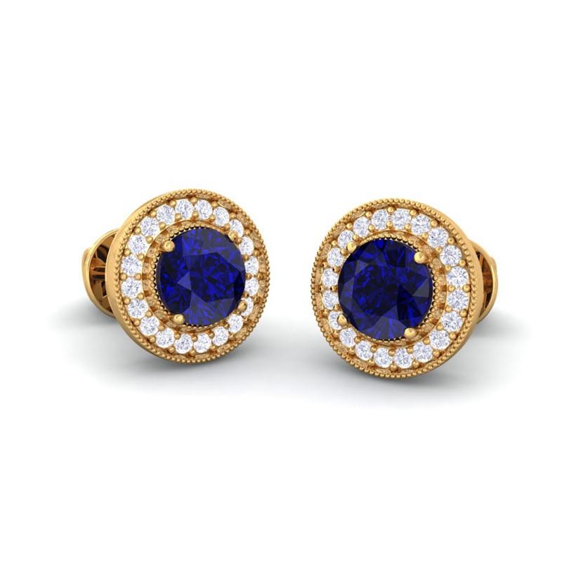 Blue-Sapphire-IJ-SI-Diamonds-Women-Halo-Gemsone-Stud-Earrings-14K-Yellow-Gold
