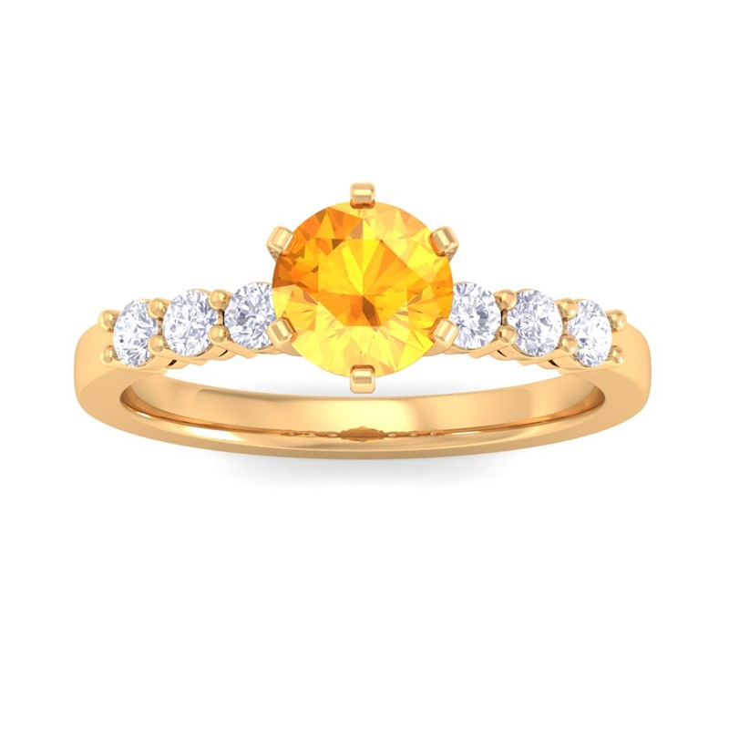 Orange-Citrine-IJ-SI-Gemstone-Fine-Diamond-Enagegement-Ring-18K-Yellow-Gold