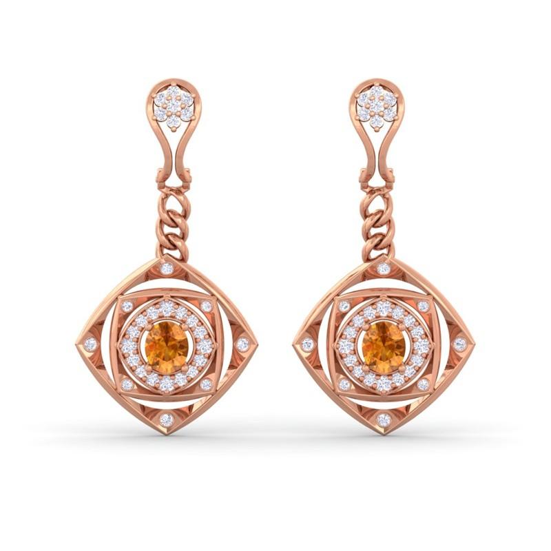 Orange-Citrine-FG-SI-Fine-Diamonds-Chandelier-Earring-Women-10K-Rose-Gold