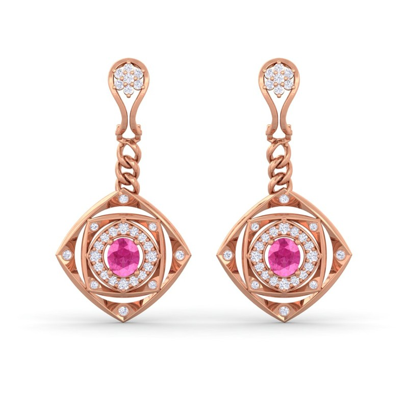 Pink-Sapphire-FG-VS-Fine-Diamonds-Chandelier-Earring-Women-10K-Rose-Gold