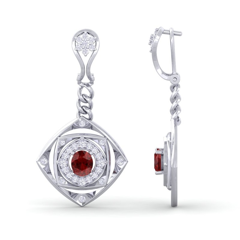 Red-Garnet-IJ-SI-Fine-Diamonds-Chandelier-Earring-Women-White-Gold