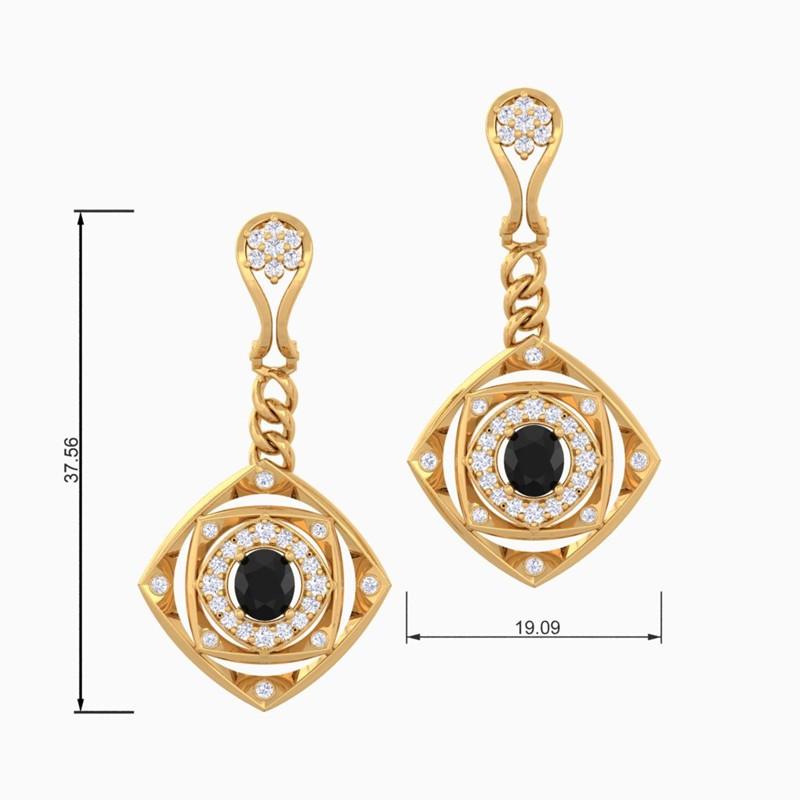 Black-Onyx-IJ-SI-Fine-Diamonds-Chandelier-Earring-Women-Yellow-Gold