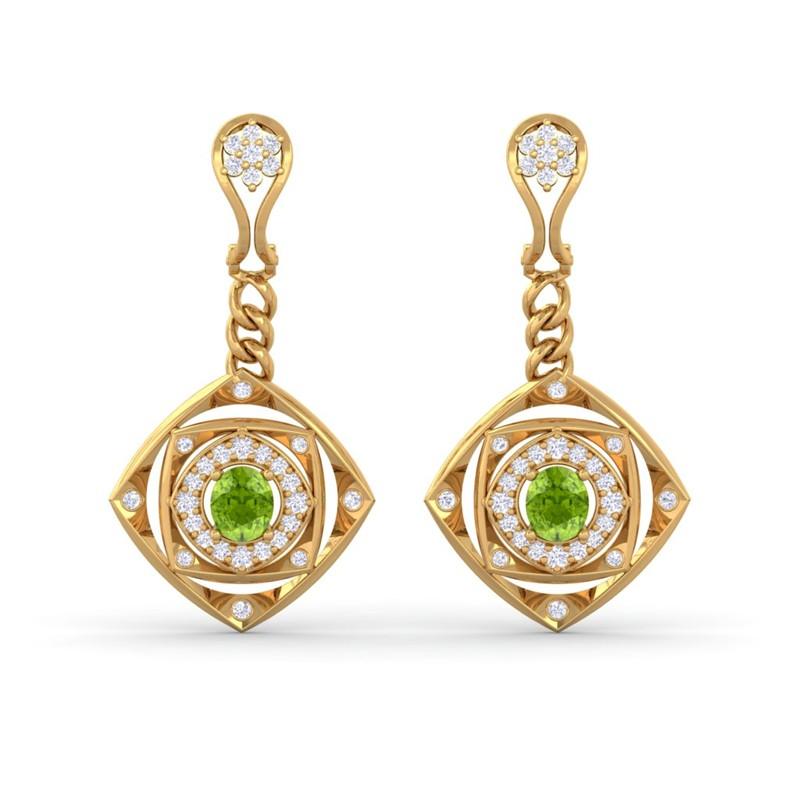 Green-Peridot-GH-VS-Fine-Diamonds-Chandelier-Earring-Women-Yellow-Gold
