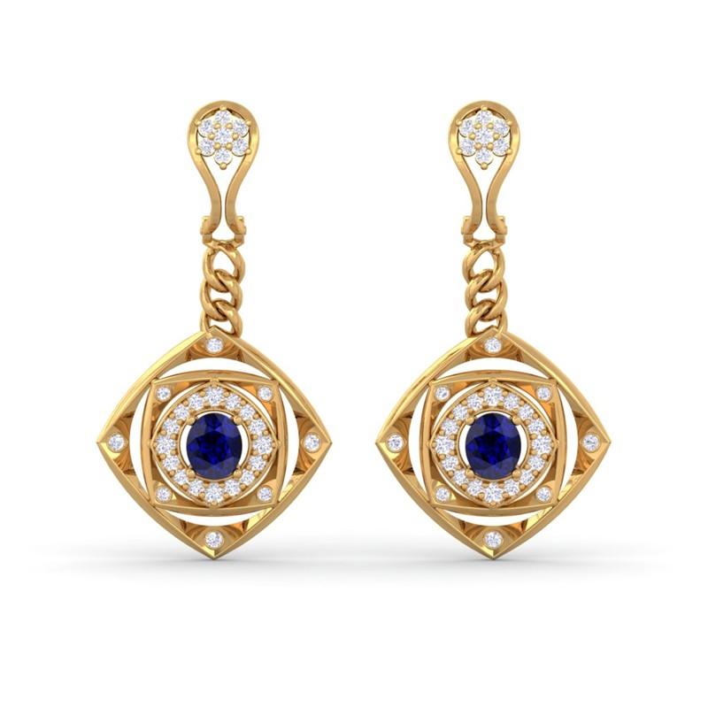Blue-Sapphire-IJ-SI-Fine-Diamonds-Chandelier-Earring-Women-14K-Yellow-Gold