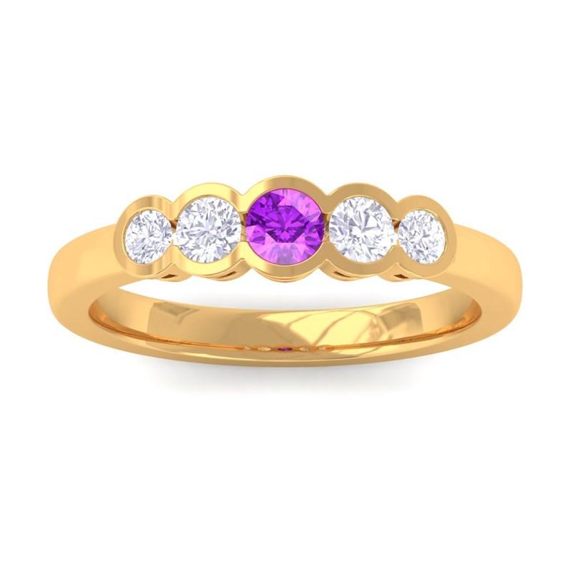 Purple-Amethyst-IJ-SI-Round-Diamond-Gemstone-Wedding-Band-Women-14K-Yellow-Gold