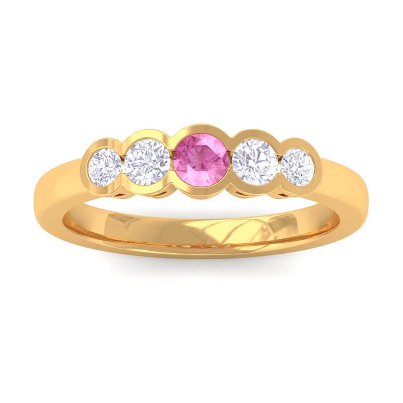Pink-Sapphire-IJ-SI-Round-Diamond-Gemstone-Wedding-Band-Women-14K-Yellow-Gold