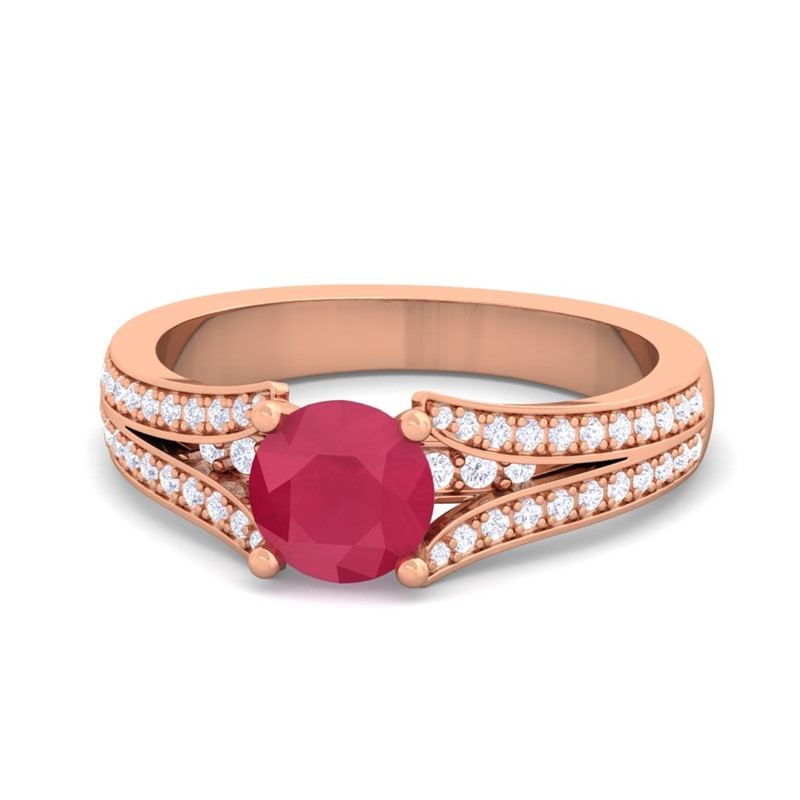 Red-Ruby-FG-SI-Solitaire-Gemstone-Natural-Diamonds-Ring-14K-Solid-Gold