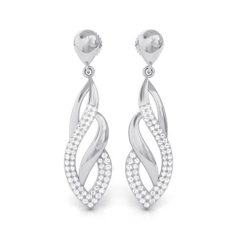 0-56ct-FG-SI-Fine-Diamond-Sparkling-Fashion-Chandelier-Earrings-10K-White-Gold