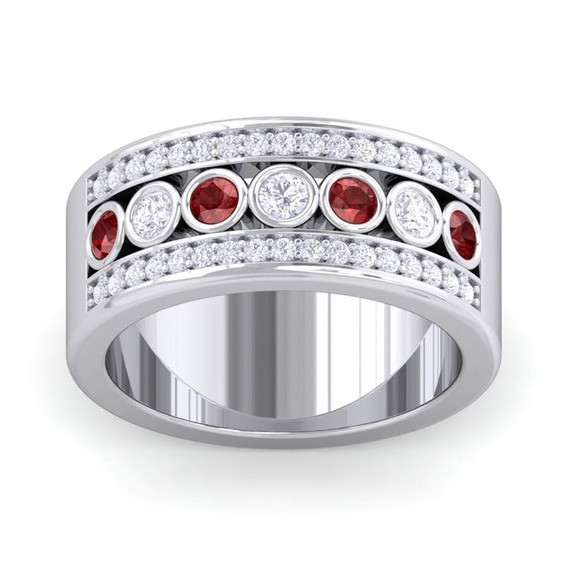 Red-Garnet-IJ-SI-Colour-Stone-Real-Diamonds-Wedding-Band-14K-White-Gold