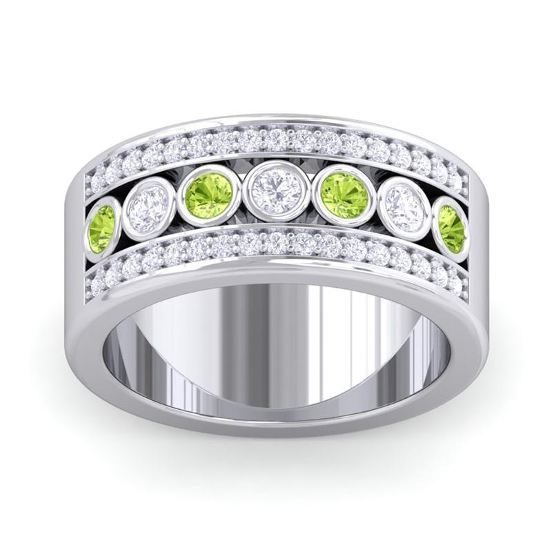 Green-Peridot-FG-SI-Colour-Stone-Real-Diamonds-Wedding-Band-14K-White-Gold