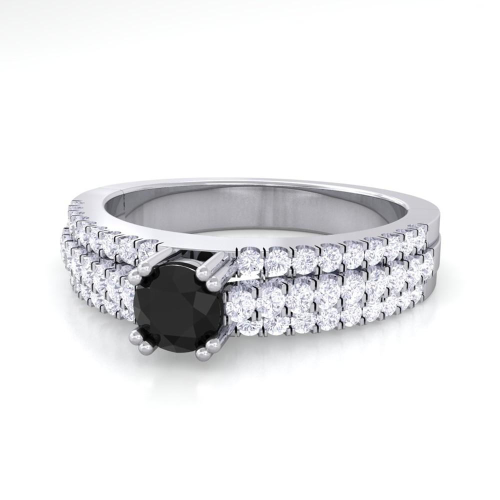 Black yx Diamond Fashion Engagement Ring Women 14k White Gold Finola