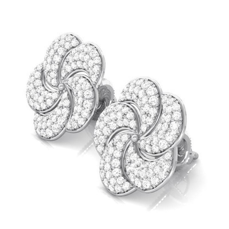 0-84ct-FG-SI-Brilliant-Fine-Diamonds-Flower-Stud-Earring-Women-18K-Gold