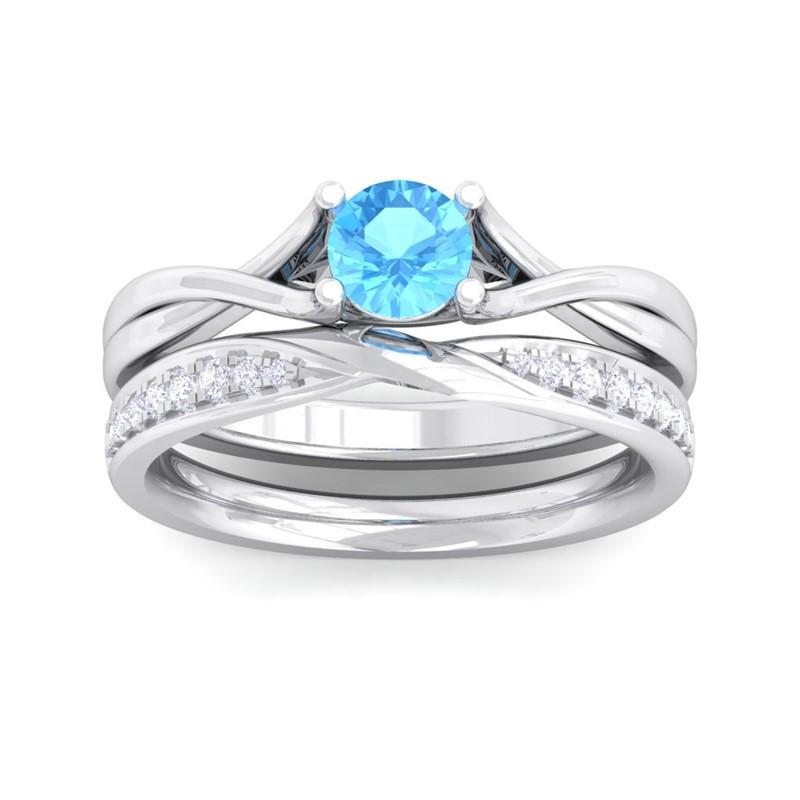 Blue-Topaz-FG-SI-Bridal-Gemstone-Engagement-Wedding-Ring-14K-Gold
