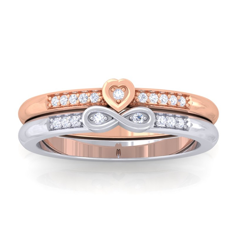 0-08ct-FG-SI-Womens-Fine-Diamond-Heart-Infinity-DailyWear-Ring-14K-White-Gold