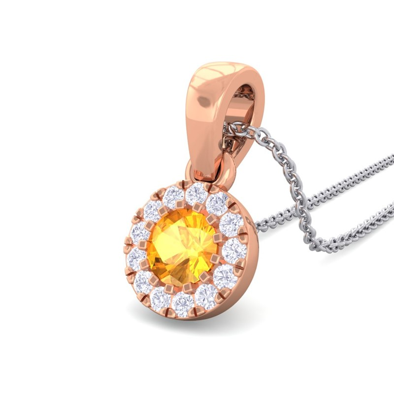 Orange-Citrine-IJ-SI-Diamond-Gemstone-Stud-Small-Pendant-Women-Rose-Gold