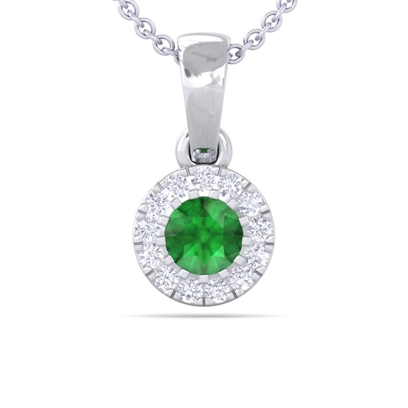 green emerald fg si gemstone stud small pendant