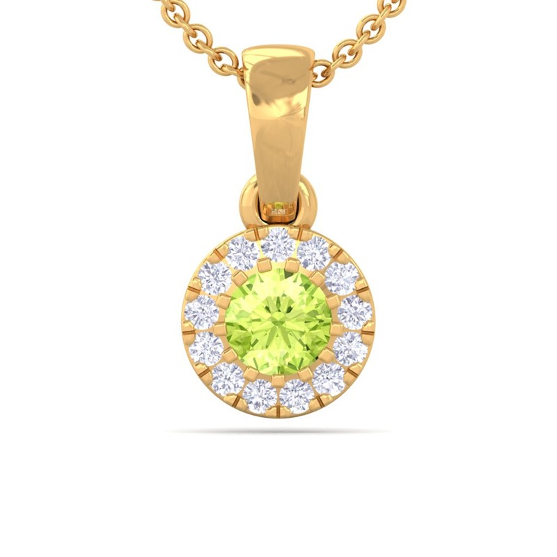 Green-Peridot-IJ-SI-Diamond-Gemstone-Stud-Small-Pendant-Women-Yellow-Gold