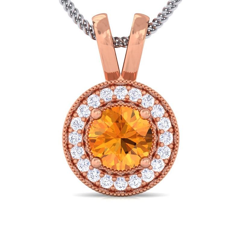 Orange-Citrine-FG-SI-Diamond-Round-Halo-Gemstone-Pendant-Women-10K-Rose-Gold