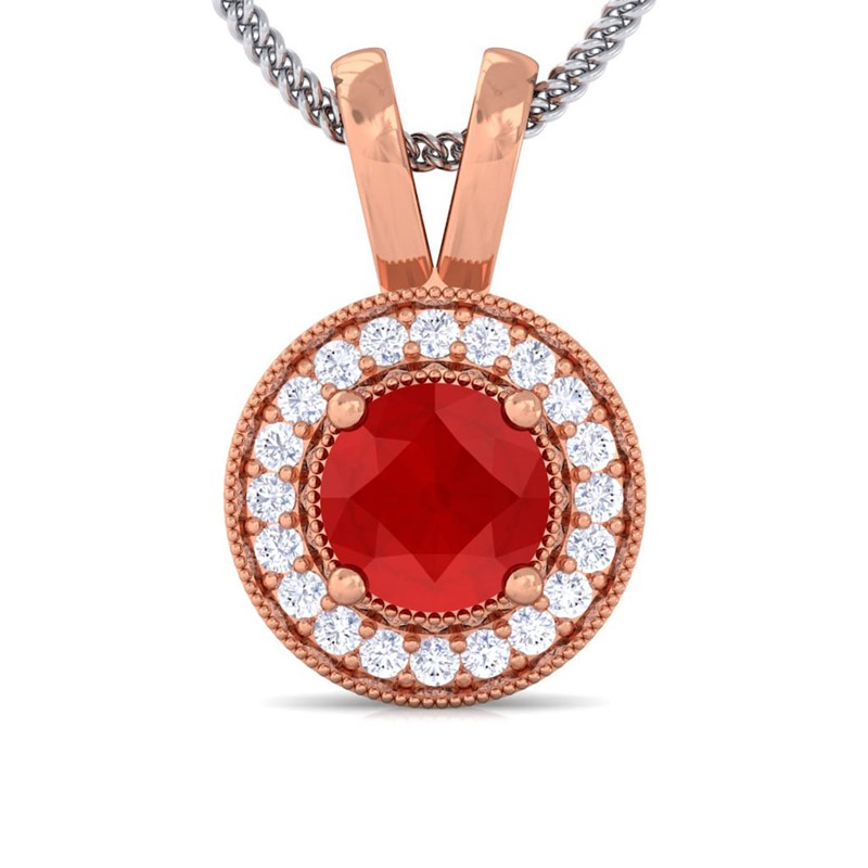 Red-Ruby-FG-SI-Diamond-Round-Halo-Gemstone-Pendant-Women-14K-Rose-Gold