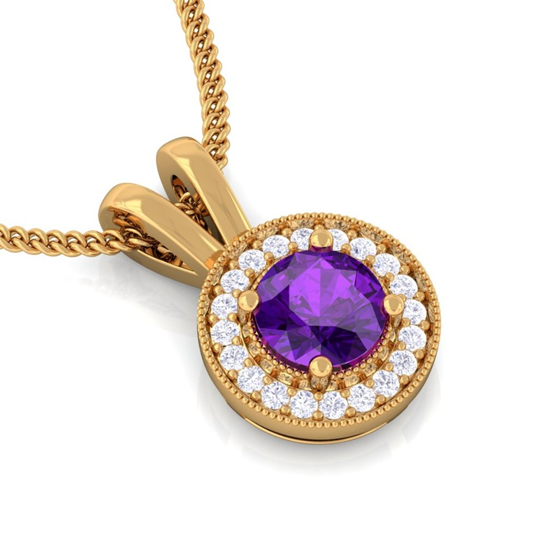 Purple-Amethyst-FG-SI-Diamond-Round-Halo-Gemstone-Pendant-Women-14K-Gold