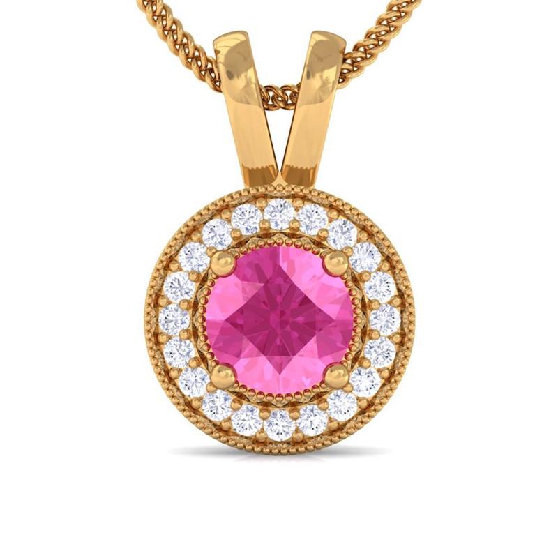 Pink-Sapphire-IJ-SI-Diamond-Round-Halo-Gemstone-Pendant-Women-Yellow-Gold