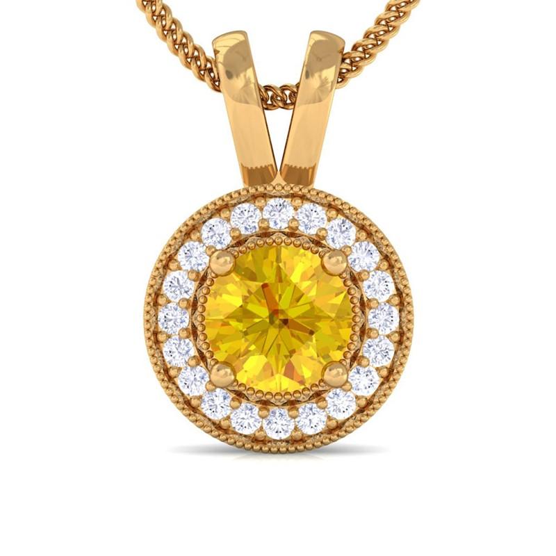 Yellow-Sapphire-Real-Diamonds-Round-Halo-Gemstone-Pendant-Women-10K-Yellow-Gold