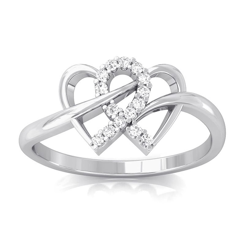 0-07ct-FG-SI-Fine-Diamonds-Womens-Delicate-Heart-Promise-Ring-10K-White-Gold