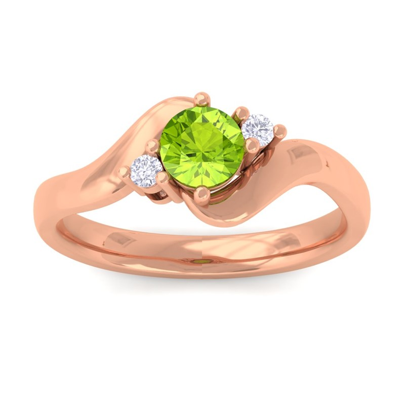 Green-Peridot-FG-SI-Natural-Round-Diamond-Gemstone-Ring-Women-14K-Rose-Gold