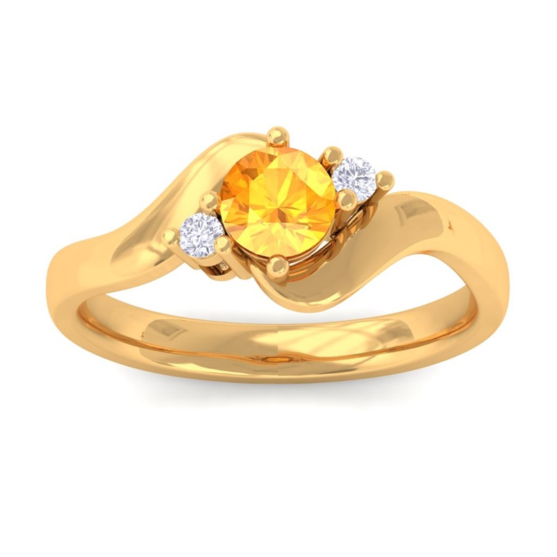 Orange-Citrine-GH-VS-Natural-Round-Diamond-Gemstone-Ring-Women-Yellow-Gold